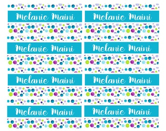 100ct Water Color Dots Daycare Name Labels, Kids School Labels, Personalized Name Labels -Waterproof Labels Tinny, Dishwasher Safe Labels