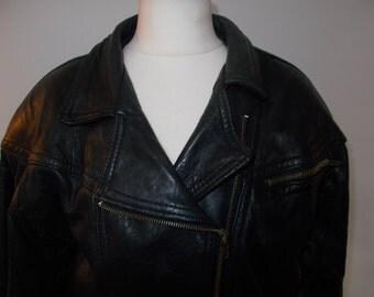 Vintage 80s black leather biker jacket size medium large