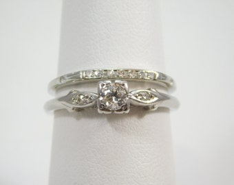 Antique Platinum 1/3 Carat Diamond Engagement Ring and 18kt WG Matching Wedding Band