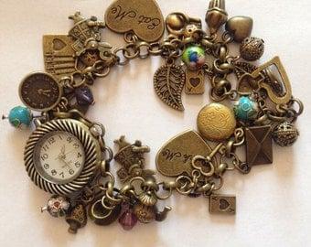 Alice in wonderland watch /bracelet with working watch