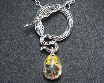 Necklace Snake no.10 with Quartz phantom 16x25mm (#7032)