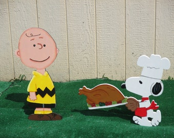 Peanuts Charlie Brown and Snoopy Thanksgiving Yard Signs