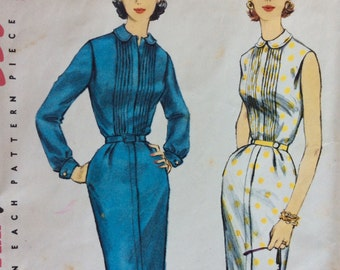 CLEARANCE!!  Simplicity 1654 misses sheath shirtwaist dress size 20 bust 38 vintage 1950's sewing pattern Uncut  Factory folds