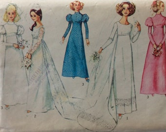 Simplicity 8575 vintage 1970's misses empire waist wedding or bridesmaid dress sewing pattern size 18 bust 40