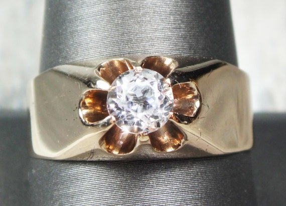 Antique Ring 1800's Mens Ring 10k Gold White Topaz Ring