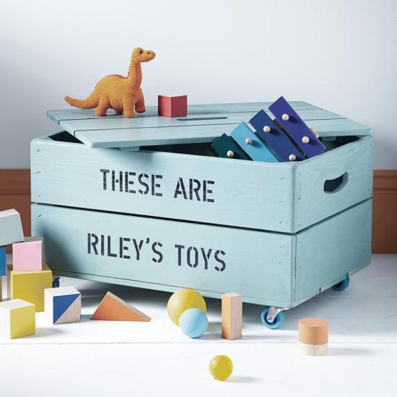 personalized kids toy box wooden toy box by personalizedcrates. Black Bedroom Furniture Sets. Home Design Ideas