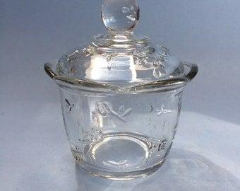 Vintage Anchor Hocking Savannah Glass Round Butter Dish Sugar Bowl