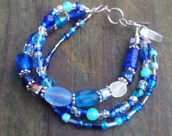 Multi Strand - 3 in 1 Bracelet - Blue Bracelet - Gifts for Her - Adjustable Bracelet - Czech Glass Bracelet - Wrap Bracelet