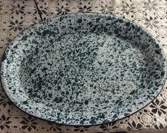 Oval Green and White Speckled Enamal