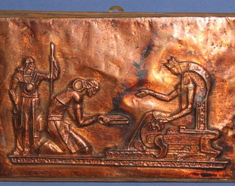 Vintage Copper Wall Decor Plaque Royalty Scene