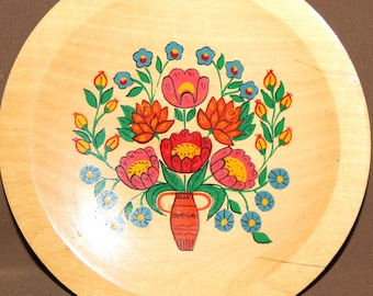 Hand Painted Flowers Wood Wall Hanging Tole Plate