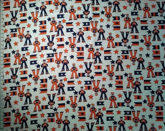 Vintage, Home Dec cotton canvas duck cloth fabric - vintage navy sailors and flags 1 yards