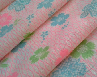 pink, green and blue floral dianthus wool kimono juban fabric  - double wide muslin