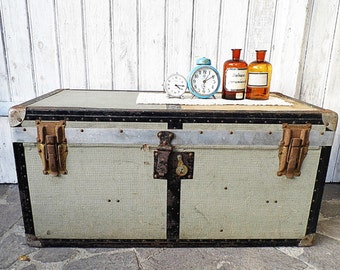 old wooden suitcase,  steamer trunk,  travel trunk