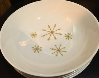Star Glow cereal dessert Bowl pattern by Royal China mid century 1950 atomic snowflake chip on edge