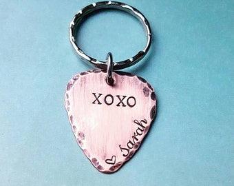 Rustic Copper Guitar Pick Keychain XOXO * I Pick You * Valentine's Day * Anniversary * Wedding * Save the date