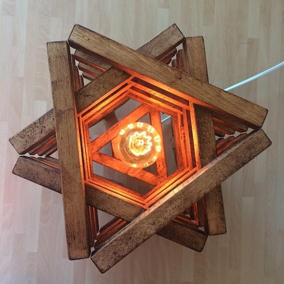 Table floor lamp light rustic wood stack design star shaped for Rustic star floor lamp