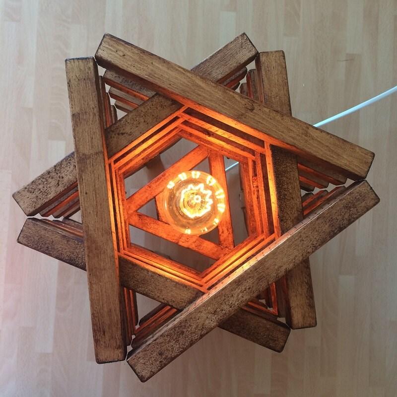 table floor lamp light rustic wood stack design star shaped. Black Bedroom Furniture Sets. Home Design Ideas