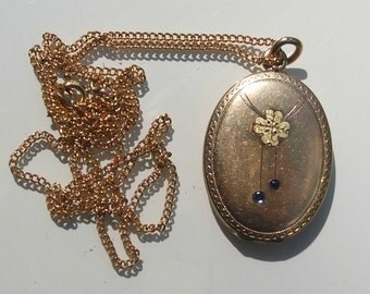 FINAL MARKDOWN Elegant Antique French Gold Plated Clover Leaf Sapphire Photo Locket Pendant And Chain.