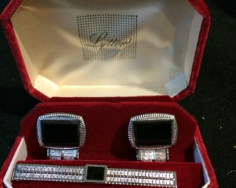 Vintage LYTTON'S Cuff Links and Tie Clip Set in Box