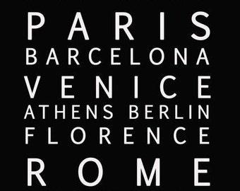 European Cities Subway Sign Typography Print Download - Europe Black & White Art Home Decor - Printable Modern Art for Office - Paris Venice