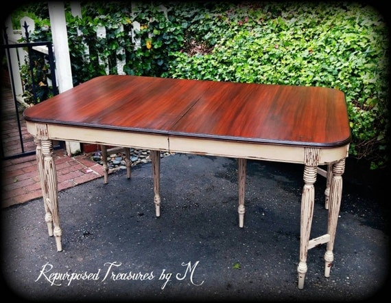 Antique shabby chic dining table dining table rustic table for Rustic shabby chic dining table