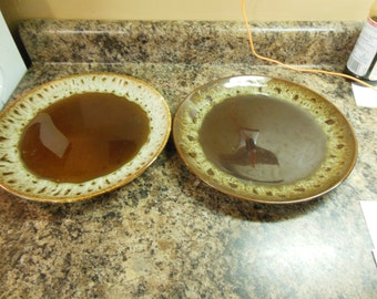 Cannonsburg brown drip dinner plates. ( Set of 2)