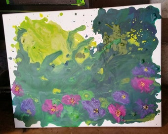 SPRINGTIME abstract flowers/grass melted wax on canvas 14×16
