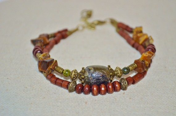Ankle Bracelet Wood & Tigers Eye, Wood Bead Anklet with Stones, Hippie Wood Bead Anklet, Tigers Eye Anklet, Stone Anklet, Wood Bead Anklet