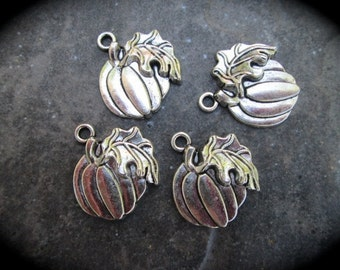 Silver Halloween Pumpkin Charms Package of 4 three dimensional Elegant silver finish charms