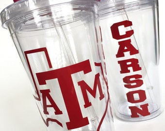 Texas A&M, Texas ATM, Texas AMU, College Gift, Grad Gift - Personalized 16oz Tumbler