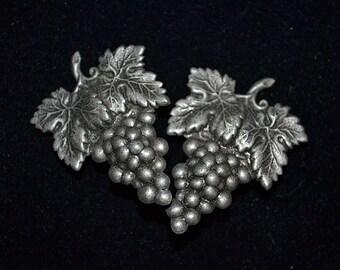 Vintage Stamped Silver Grape Clip Earrings