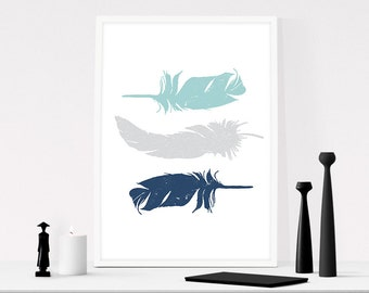 Feather wall art, Blue feather print, Cottage decor, Feather art, Navy blue wall art, Feathers print, Tribal wall art, Printable feather