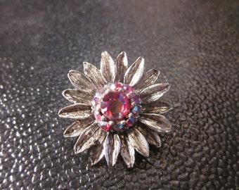Vintage Flower brooch with Aurora Borealis Rhinestone