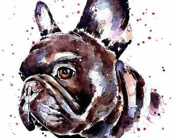 "Frenchie   "" Original  Watercolour A3 (30*40cm/16*12 Inches)"