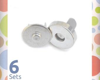 18 mm Magnetic Snaps, Nickel Finish, 6 Sets, Handbag Purse Bag Making Hardware Craft Supplies, BSN-AA015
