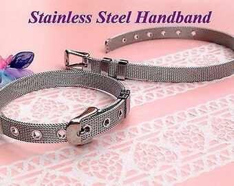 Steel Wristband Bracelet Personalized Slider Bracelets with Rhinestone Letters.