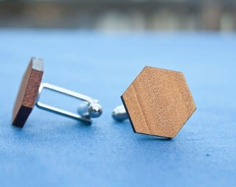 Wooden cufflinks - reclaimed wood - plain hexagon - groomsmen - wedding accessories - groom accessories - Fathers Day - gift for him