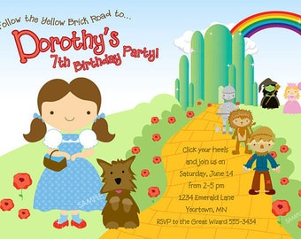 Wizard of Oz Invitation for Birthday Party - DIY Printable Digital File {Printing available}