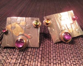 Modernist Sterling SilverPurple Gemstone Earrings