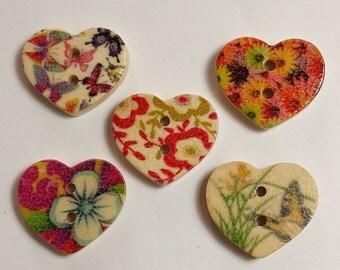 25pcs Flower & Butterfly Heart Shaped Buttons - Assorted Wood Buttons - Scrapbook Embellishment - Cardmaking - Decorative Buttons - B12439
