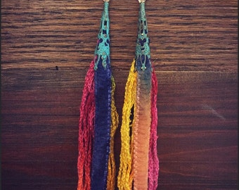 Tassel earrings / long fringe earrings / colorful earrings / fringe earrings / tribal gypsy boho bohemian jewelry