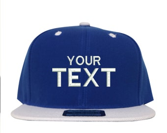 LOGA Blue & White Custom Embroidered Snapback, Your Own Personalized Hat Custom Hat on a LOGA Snapback, Choose Your Text