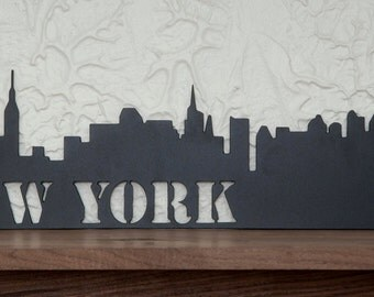 "New York City, New York City skyline, NYC,  powder coated Flat Black, exact replica of New York City skyline, 24"" x 7"""