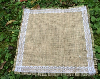 "Burlap Placemats, Set of 10 Burlap and Lace 12""x12"", Rustic Table Placemat"