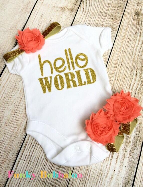 Go Hello World: Hello World Newborn Outfit Gold Glitter & Coral Bodysuit