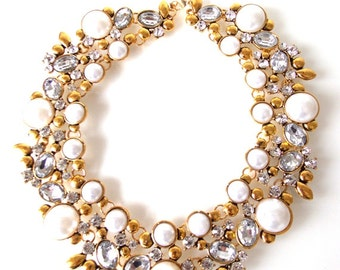 Pearl and Crystal Jewelled Collar Statement Necklace
