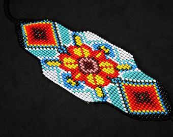 Huichol Bracelet, Beaded Cuff Bracelet, Native Beaded Bracelet, Huichol Jewelry, Seed Bead Bracelet, Flower Bracelet, Traditional Beadwork