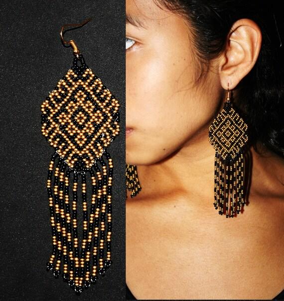 Beaded Aztec Earrings, Nahuatl Earrings, Native American Beaded Earrings, Dark Gold and Black Tribal Earrings, Seed Bead Earrings, Medium