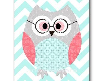 Coral Mint Grey Owl Wall Art for Children Printable Digital Print Baby Girl Nursery Art Digital Download Print 8x10 11X14 INSTANT DOWNLOAD